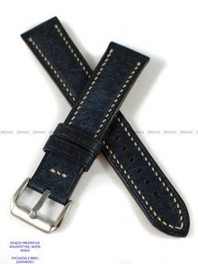 Pasek skórzany ręcznie robiony A. Kucharski Leather - Badalassi Carlo Pueblo RawEdge - navy/camel 22 mm