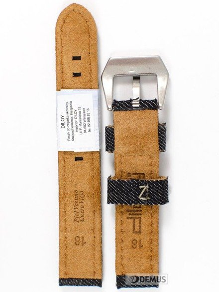 Pasek skórzany do zegarka - Diloy 390.18.1 - 18 mm