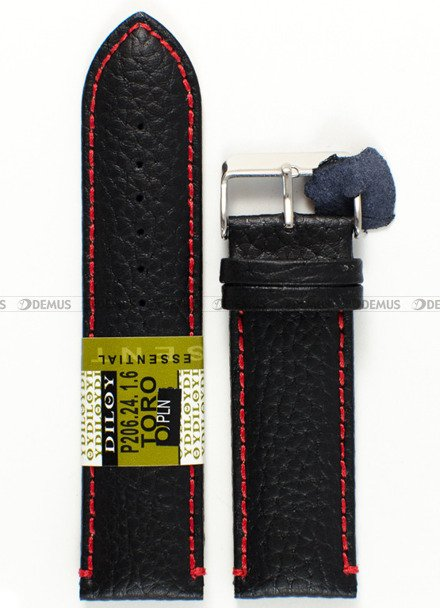Pasek skórzany do zegarka - Diloy P206.24.1.6 - 24 mm