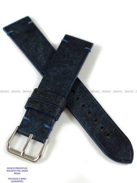 Pasek skórzany ręcznie robiony A. Kucharski Leather - Badalassi Carlo Pueblo Simple - navy/navy 22 mm