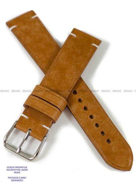 Pasek skórzany ręcznie robiony A. Kucharski Leather - Conceria Il Ponte Maya Simple - cognac/white 24 mm