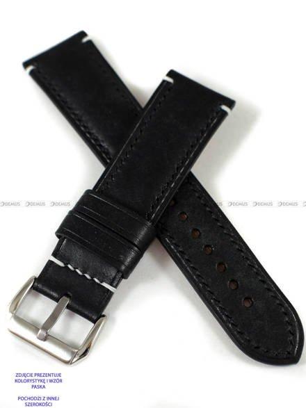 Pasek skórzany ręcznie robiony A. Kucharski Leather - Conceria Il Ponte Maya - black/black 20 mm