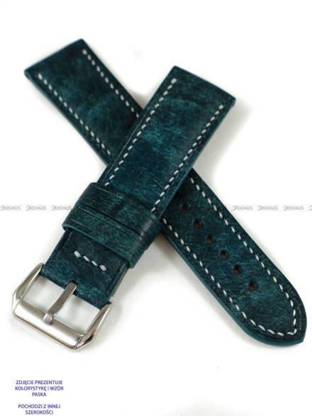 Pasek skórzany ręcznie robiony A. Kucharski Leather - Conceria Il Ponte Maya - turquoise/white 26 mm