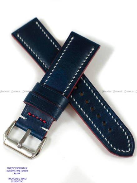 Pasek skórzany ręcznie robiony A. Kucharski Leather - Conceria Walpier Buttero - blue/white 28 mm