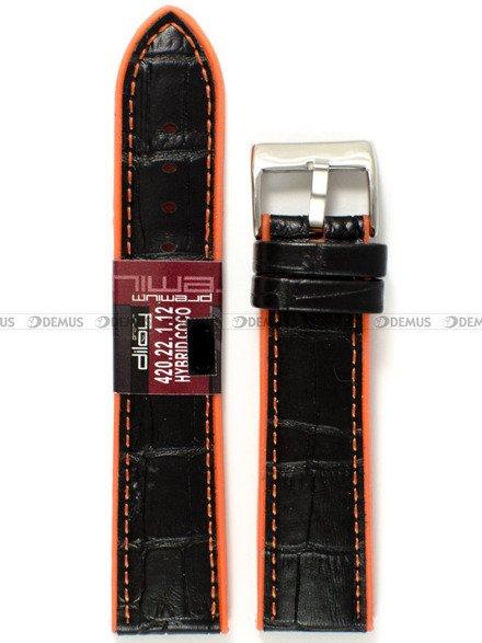Pasek z tworzywa i skóry do zegarka - Diloy 420.22.1.12 - 22 mm