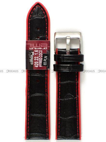 Pasek z tworzywa i skóry do zegarka - Diloy 420.22.1.6 - 22 mm