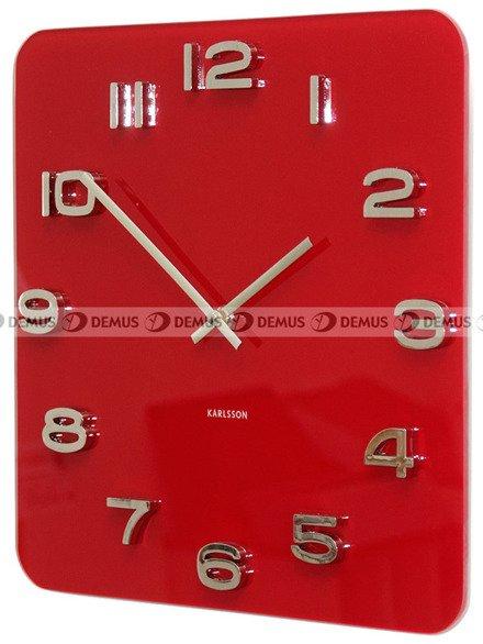 Zegar ścienny KARLSSON KA4400 szklany Vintage kwadrat czerwony