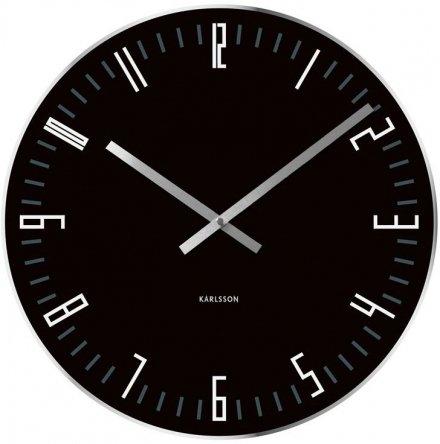 Zegar ścienny KARLSSON KA4922 szklany Slim Index czarny