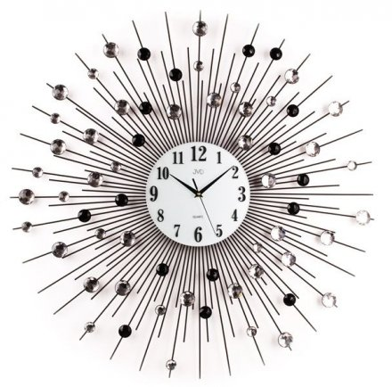 Zegar ścienny metalowy z elementami dekoracyjnymi w postaci kryształowych czarnych, dymionych i przeźroczystych kuleczek HJ21