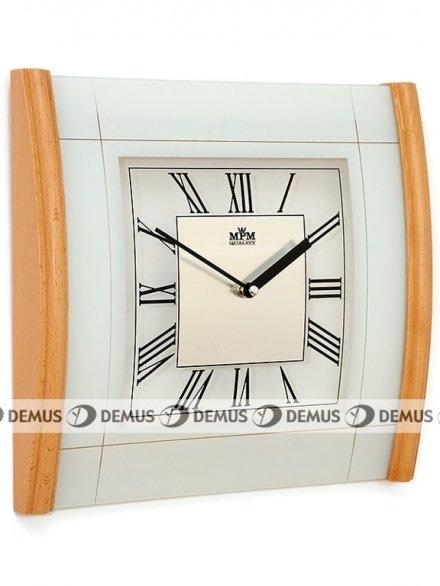 Zegar ścienny szklano-drewniany kwadratowy nowoczesny E07.2715.53