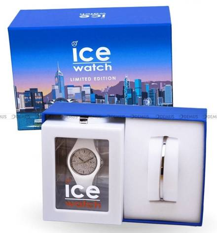 Zegarek Ice-Watch - Ice Glitter White Silver 018689 S - Z bransoletką w zestawie - Limitowana edycja