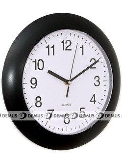 Zegar ścienny plastikowy okrągły czarna obudowa biała tarcza E01.2634.90