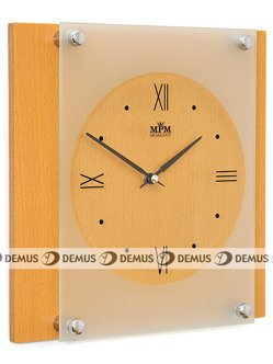 Zegar ścienny szklano-drewniany MPM E07.2706.53